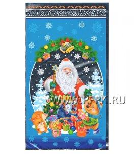 Пакет НГ прозр. с рис. + мет. 20х35 Дед Мороз (№26)