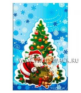 Пакет НГ прозр. с рис. + мет. 25х40 Дед Мороз и елка (№21)