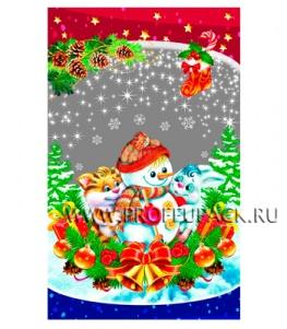Пакет НГ прозр. с рис. + мет. 25х40 Снеговики (№15)