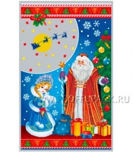 Пакет НГ прозр. с рис. + мет. 25х40 Дед Мороз и Снегурочка (№22)