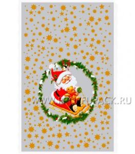 Пакет НГ прозр. с рис. + мет. 25х40 Дед Мороз на санях (№23)