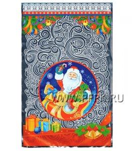 Пакет НГ прозр. с рис. + мет. 25х40 Дед Мороз на санях (№25)