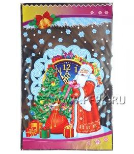 Пакет НГ прозр. с рис. + мет. 25х40 Дед Мороз и Снегурочка (№34)
