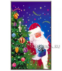Пакет НГ прозр. с рис. + мет. 30х50 Дед Мороз (№7)