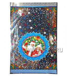 Пакет НГ прозр. с рис. + мет. 30х50 Дед Мороз и Снегурочка(№6)