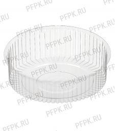 Тортница круг. d185мм Т-185 ДНО КОМУС (без крышки) ПС прозрачная