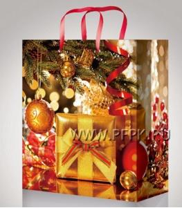 НГ сумочка бумажная 18х22х10 МЕГА (M) М-2214 (Подарки)