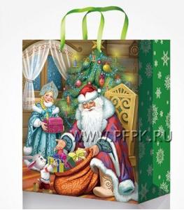 НГ сумочка бумажная 18х22х10 МЕГА (M) М-2215 (Дед Мороз)
