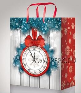 НГ сумочка бумажная 18х22х10 МЕГА (M) М-2216 (Часы)