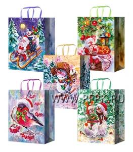 НГ сумочка бумажная 18х22х10 МЕГА (M) M-2276/2277/2278/2279/2280 (Снеговики,Дед Мороз)
