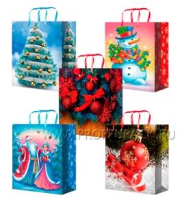 НГ сумочка бумажная 26х32х13 МЕГА (L) L-3203/3204/3205/3206/3207 (Ель,Снеговики,Дед Мороз)