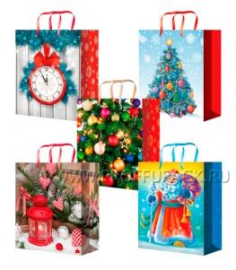 НГ сумочка бумажная 11х13х6 МЕГА (S) S-1096/1097/1098/1099/1100 (Часы,Шары,Дед Мороз)