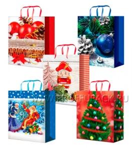 НГ сумочка бумажная 11х13х6 МЕГА (S) S-1101/1102/1103/1104/1105 (Шары,Дед Мороз)