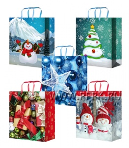 НГ сумочка бумажная 14х20х6,5 МЕГА (MS) MS-6117/6118/6119/6120/6121 (Шары,Подарки,Снеговики)