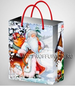 НГ сумочка бумажная 26х32х13 МЕГА (LР) LP-3029 (Дед Мороз)