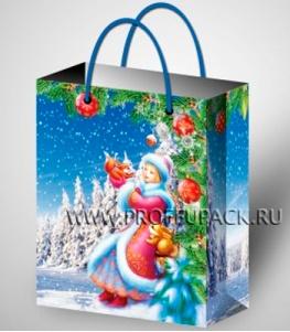 НГ сумочка бумажная 26х32х13 МЕГА (LР) LP-3030 (Снегурочка)