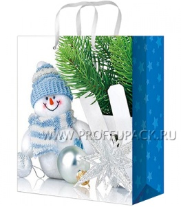 НГ сумочка бумажная 26х32х13 МЕГА (LР) LP-3059 (Снеговик)