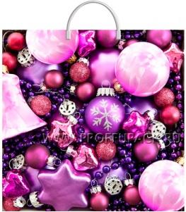 НГ Пакет с пласт. ручкой 36х37 (100 мкм) ПВД, ТИКО Сиреневые шарики