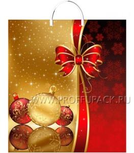 НГ Пакет с пласт. ручкой 40х44 (100 мкм) ПВД, ТИКО Золотой шарик
