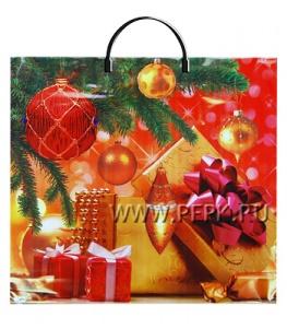 НГ Пакет с пласт. ручкой ФОТОПЕЧАТЬ РП 38х34 (90 мкм) ПВД Новогодний подарок МКН-030