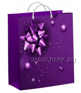 НГ СОФТПЛАСТ с пласт.ручкой 30х40 (140мкм) мяг.пластик ТИКО Фиолетовый подарок