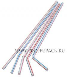 Трубочки со сгибом гофрированные 5х210мм (уп. 250 шт.) Полосатые
