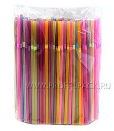 Трубочки со сгибом гофрированные 5х210мм (уп. 250 шт.) Неоновые