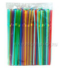 Трубочки со сгибом гофрированные 5х210мм (уп. 250 шт.) Цветные