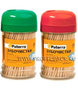 Зубочистки (пласт.баночка, 200шт.) PATERRA (401-623)