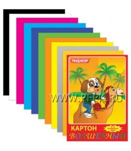 Картон цветной А4 (10 цветов 10 листов) Пифагор (121-322)