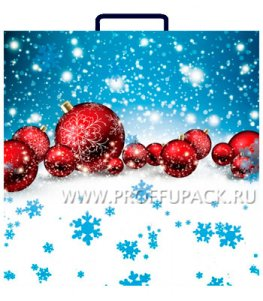 НГ Сумочка из мягкого пластика 02 (30х30х10) средняя BAM-134 (Красные шары)