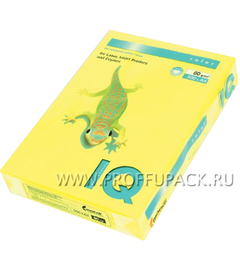 Бумага офисная цветная IQ А4, 500л. (неон) Желтый неон (083-745 / 110-667/ NEOGB)