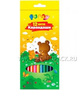 Карандаши цветные (12 цветов) Зверята (171-429 / CP12_117)
