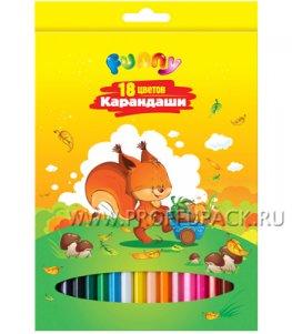Карандаши цветные (18 цветов) Зверята (228-916 / СР18_7882)