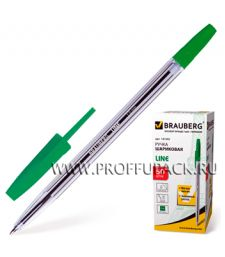 Ручка шариковая BRAUBERG Line (Лайн) 1мм Зеленая (141-342)