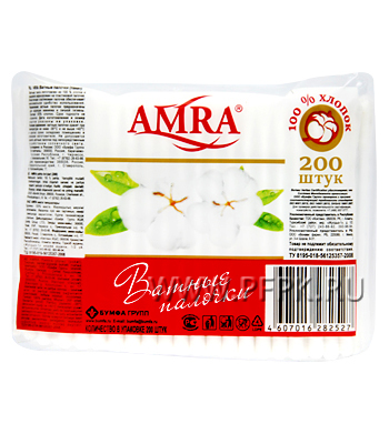 Ватные палочки AMRA (пакет 200 шт.)