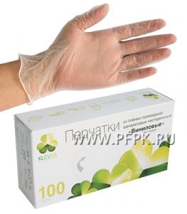 Перчатки виниловые КЛЕВЕР (уп. 100 шт.) L
