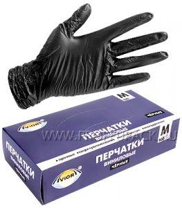 Перчатки виниловые черные AVIORA (уп. 100 шт.) M (402-735)