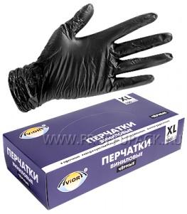 Перчатки виниловые черные AVIORA (уп. 100 шт.) XL (402-737)