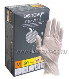 Перчатки латексные смотровые медицинские опудренные (уп. 100 шт.) M (Benovy)