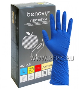Перчатки латексные сверхпрочные медицинские BENOVY L