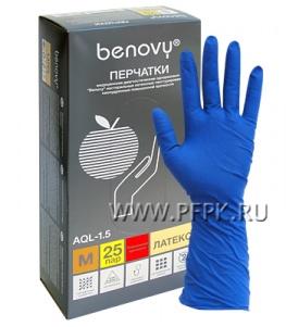 Перчатки латексные сверхпрочные медицинские BENOVY M