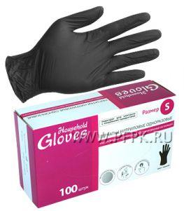Перчатки нитриловые черные HOUSEHOLD (уп. 100 шт.) S(KN002BL)