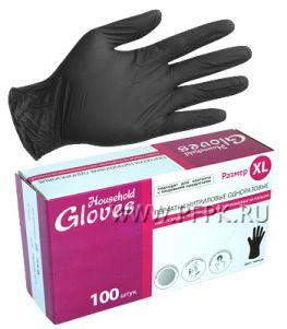 Перчатки нитриловые черные HOUSEHOLD (уп. 100 шт.) XL(KN005BL)