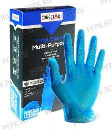 Перчатки виниловые синие CORESTAR (уп. 100 шт.) M