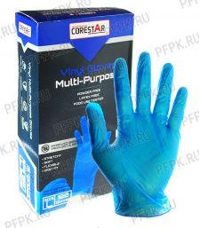 Перчатки виниловые синие CORESTAR (уп. 100 шт.) L