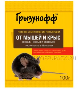 Приманка от грызунов, тесто (пакет 100 гр) ГРЫЗУНОФФ