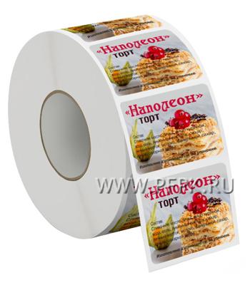 Самоклеящиеся этикетка 58х60 ТОРТ НАПОЛЕОН