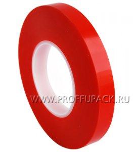 Клейкая лента двухсторонняя на ПЭТ основе 19х50 Красная