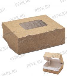 Коробка бум. V300мл 100х80мм h35мм крафт (с окном) 411-011
